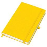 Бизнес-блокнот 'Justy', 130*210 мм, желтый, твердая обложка,  резинка 7 мм, блок-линейка, тиснение,