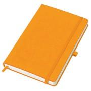 Бизнес-блокнот 'Justy', 130*210 мм, оранжев, твердая обложка,  резинка 7 мм, блок-линейка, тиснение