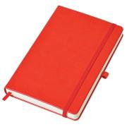 Бизнес-блокнот 'Justy', 130*210 мм, красный, твердая обложка,  резинка 7 мм, блок-линейка, тиснение