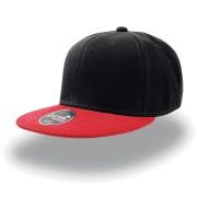 Бейсболка 'SNAP BACK' 6 клиньев, плоский козырек, пластиковая застежка пвх, черный с красным 100% ак