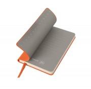 Бизнес-блокнот 'Funky', 90*140 мм, оранжевый, серый форзац, мягкая обложка, в клетку
