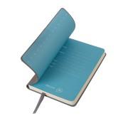 Бизнес-блокнот 'Funky', 90*140 мм, серый, голубой форзац, мягкая обложка, в клетку