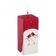Свеча ручной работы «Снегири на снегу», в форме куба