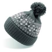 Шапка вязаная с снежинками и помпоном 'FLAKE'_темно-серый,100% акрил