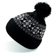 Шапка вязаная с снежинками и помпоном 'FLAKE'_черный,100% акрил