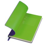 Бизнес-блокнот 'Funky' фиолетовый с зеленым форзацем, мягкая обложка,  линейка