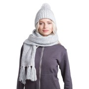 GoSnow, вязаный комплект шарф и шапка, меланж c фурнитурой меланж