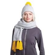 GoSnow, вязаный комплект шарф и шапка, меланж c фурнитурой желтый