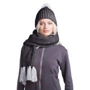 GoSnow, вязаный комплект шарф и шапка, антрацит c фурнитурой меланж