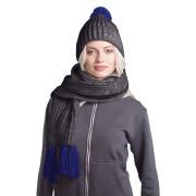 GoSnow, вязаный комплект шарф и шапка, антрацит c фурнитурой темно синий