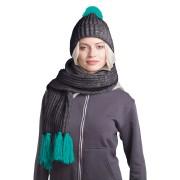 GoSnow, вязаный комплект шарф и шапка, антрацит c фурнитурой бирюзовый