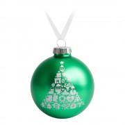 Елочный шар «Новогодний коллаж», 10 см, зеленый с белым