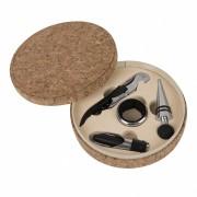 Набор для вина 'Cork' (4 предмета); 15х4см; искусственная кожа, металл; лазерная гравировка