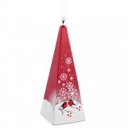 Свеча ручной работы «Снегири на снегу», в форме пирамиды