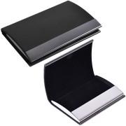 Визитница 'Конгресс'; черный; 6,5х9,6х1,2 см; иск. кожа, металл; лазерная гравировка