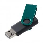 Флешка Twist Color, черная с зеленым,16 Гб