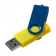 Флешка Twist Color, желтая с синим, 16 Гб