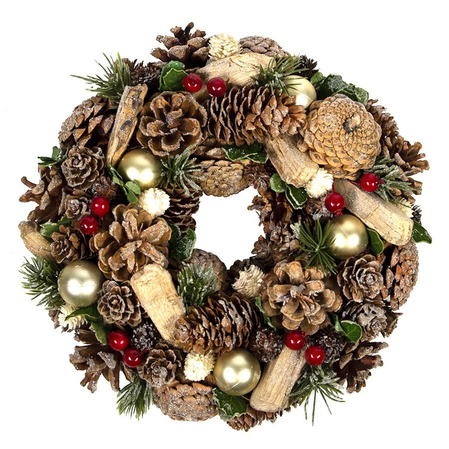 Новогоднее украшение 'Christmas', диаметр 22 см, пластик, дерево, зеленый с блестками